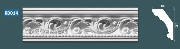 Продается kd014 гипсовый карниз с декором - h142x100мм по цене 1050 руб.
