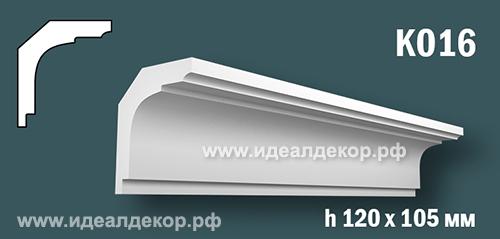 Продается к016 - потолочный плинтус гипсовый (карниз с гладким профилем) по цене 665 руб.
