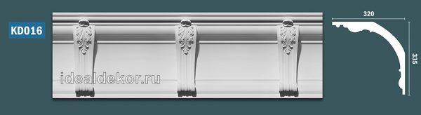 Продается kd016 гипсовый карниз с декором - h335x320мм по цене 3150 руб.